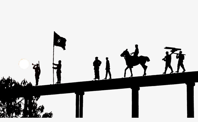 Bridge clipart silhouette. Of soldiers march across