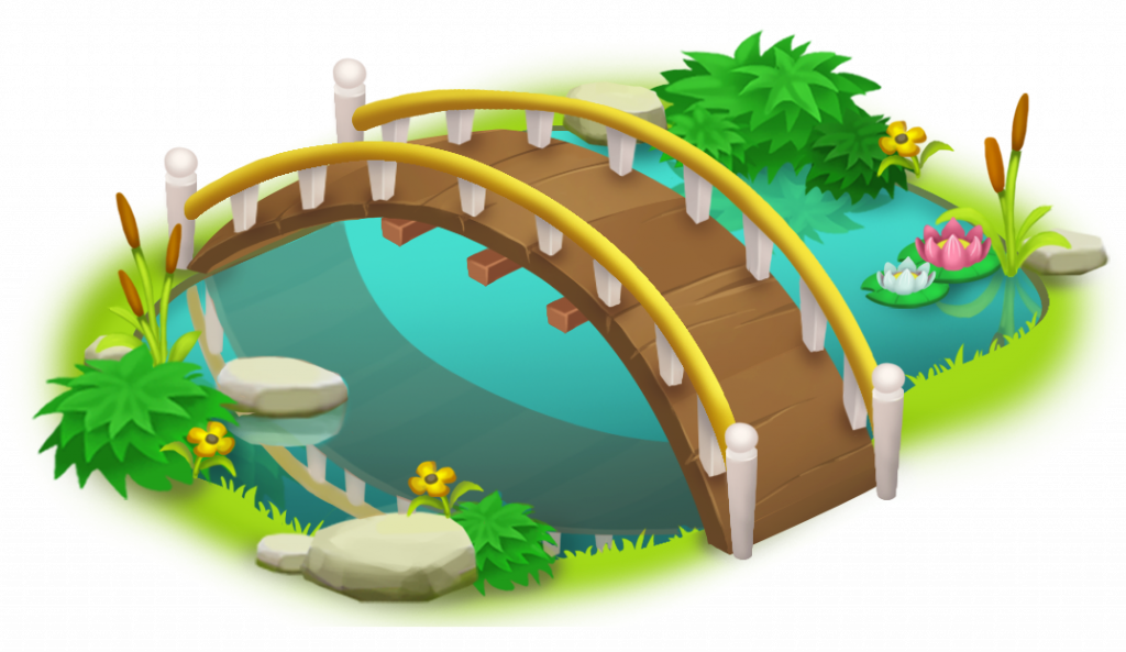 Simple bridge and png. Ducks clipart fish pond game