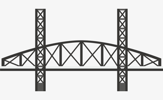 Bridge clipart steel bridge. Vector material cartoon flat
