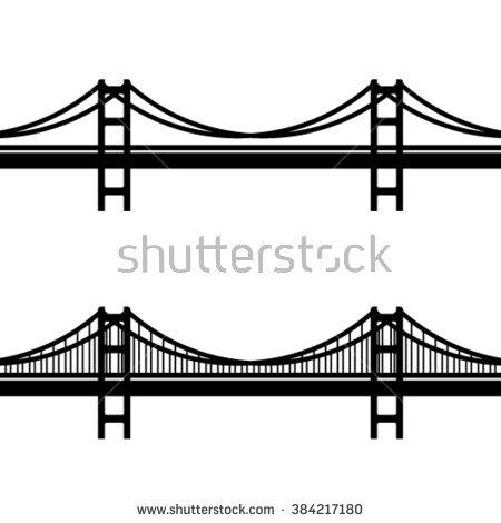 Bridge clipart suspension bridge. Black and white movieweb