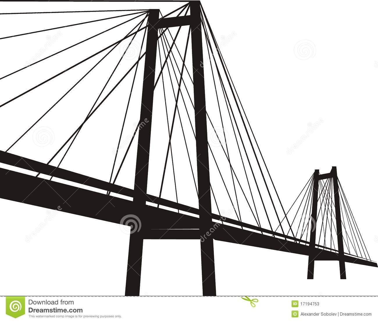 Modern . Bridge clipart suspension bridge