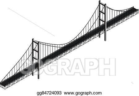 Bridge clipart suspension bridge. Vector art isometric drawing