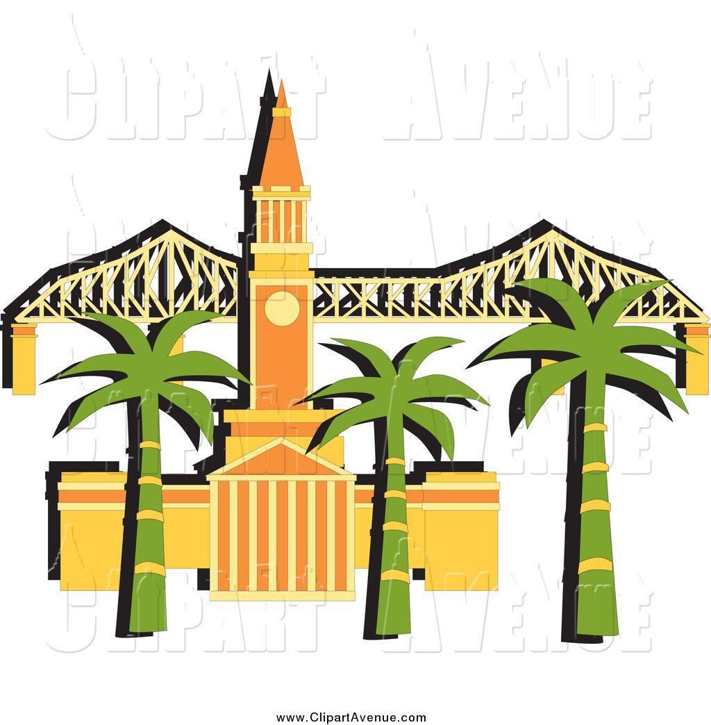 Avenue of a palm. Bridge clipart tree