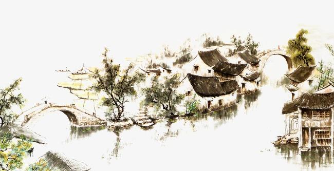 Small river trees houses. Bridge clipart tree