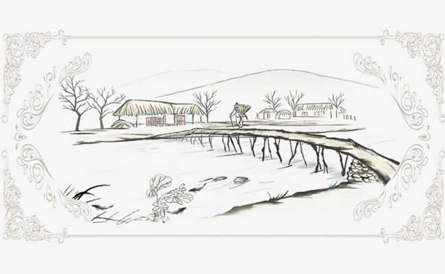 Bridge clipart tree. Rural small wooden sparse