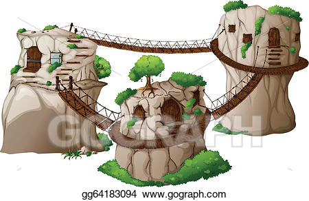Vector illustration houses with. Bridge clipart tree