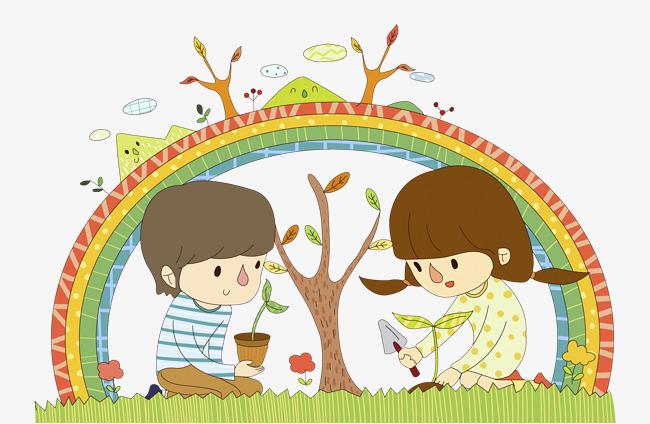 Bridge clipart tree. Planting trees under rainbow