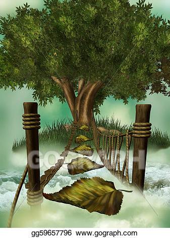Bridge clipart tree. Drawing fantasy gg gograph
