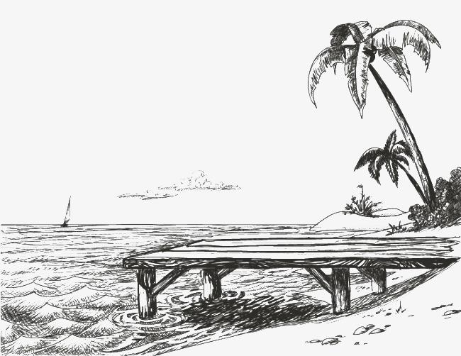 Hand painted beach coconut. Bridge clipart tree