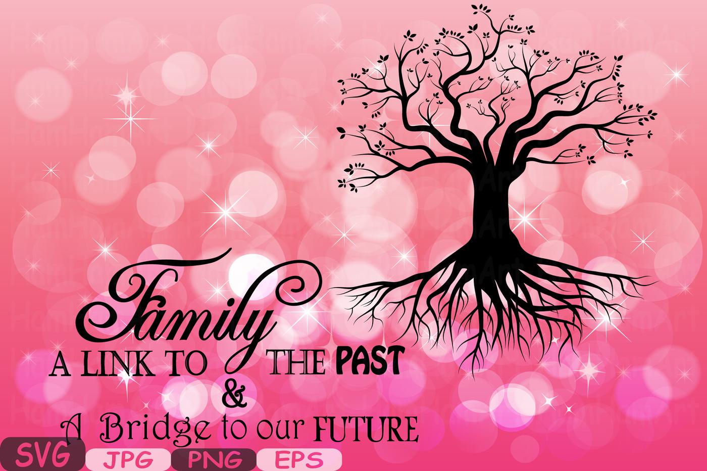 Family word art cutting. Bridge clipart tree