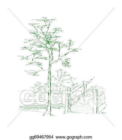 Bridge clipart tree. Vector stock near illustration