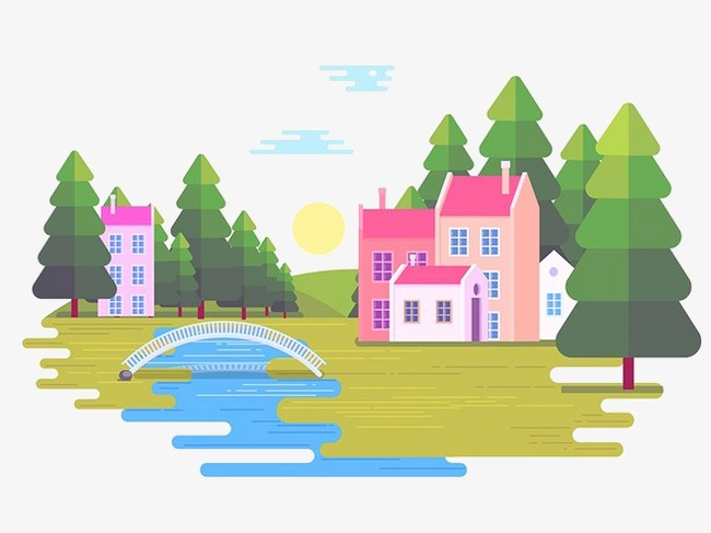 Bridge clipart tree. Bridges cartoon building flat