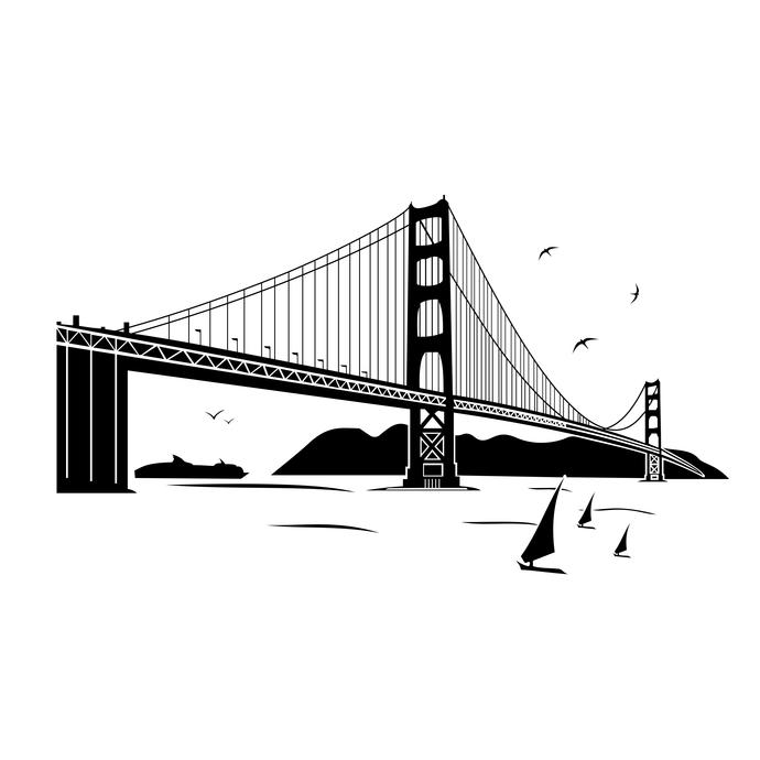 Bridge clipart vector. Golden gate land design