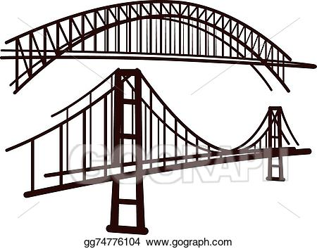 Bridge clipart vector. Stock set of bridges