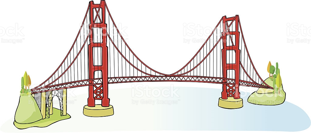Golden gate free download. Bridge clipart vector