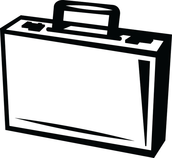 Free black and white. Briefcase clipart