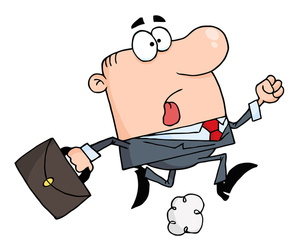 Late cartoon image clip. Employee clipart animated