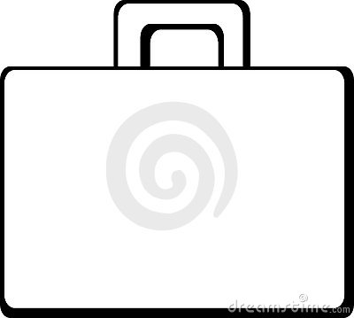 Briefcase clipart black and white.