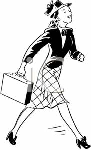 Briefcase clipart corporate woman. A black and white