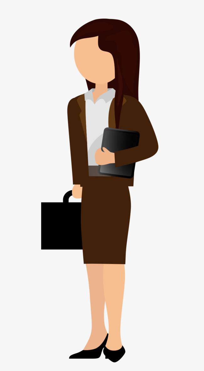 Cartoon black long hair. Briefcase clipart corporate woman