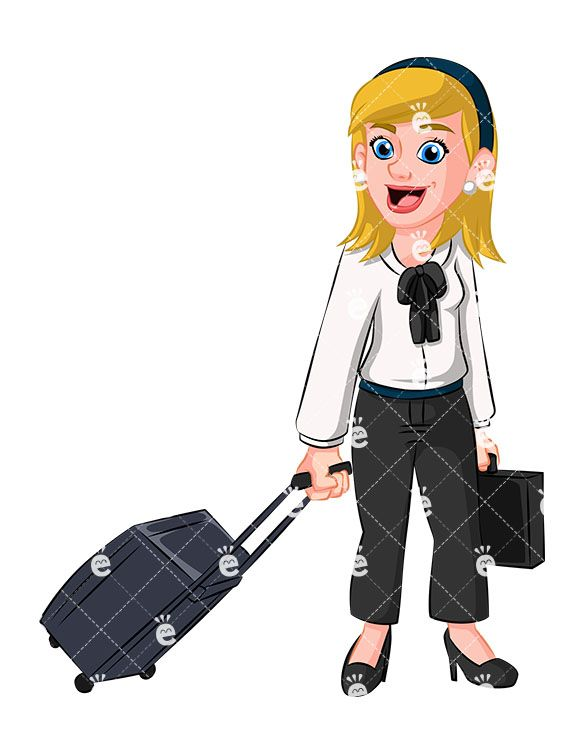 Briefcase clipart corporate woman. Business traveling vector cartoon