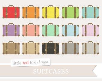 Briefcase clipart cute. Travel bag kids etsy