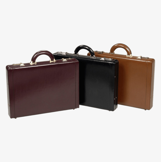 Three color official bag. Briefcase clipart cute