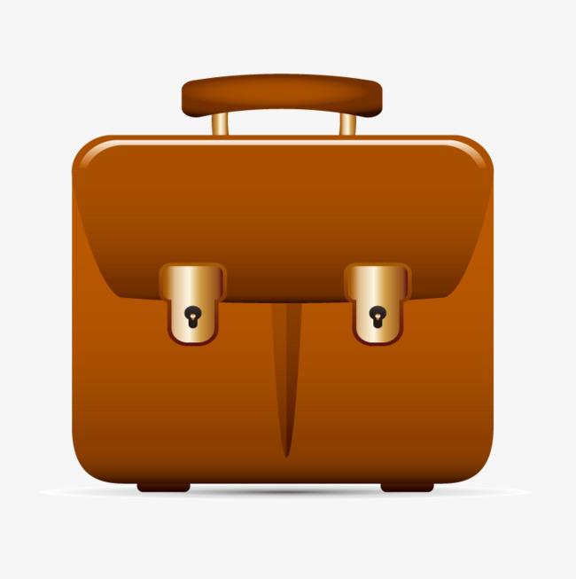 Cartoon school bag brown. Briefcase clipart cute