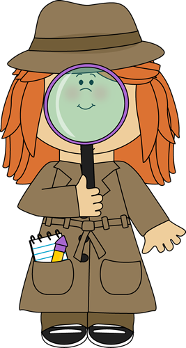 Briefcase clipart detective. Girl with magnifying glass