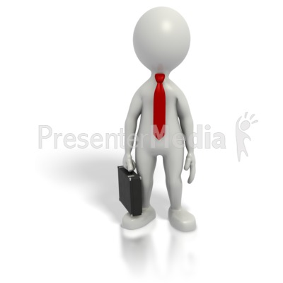 Business grey stick guy. Briefcase clipart man