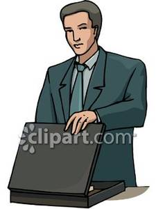 Briefcase clipart man. A in business suit