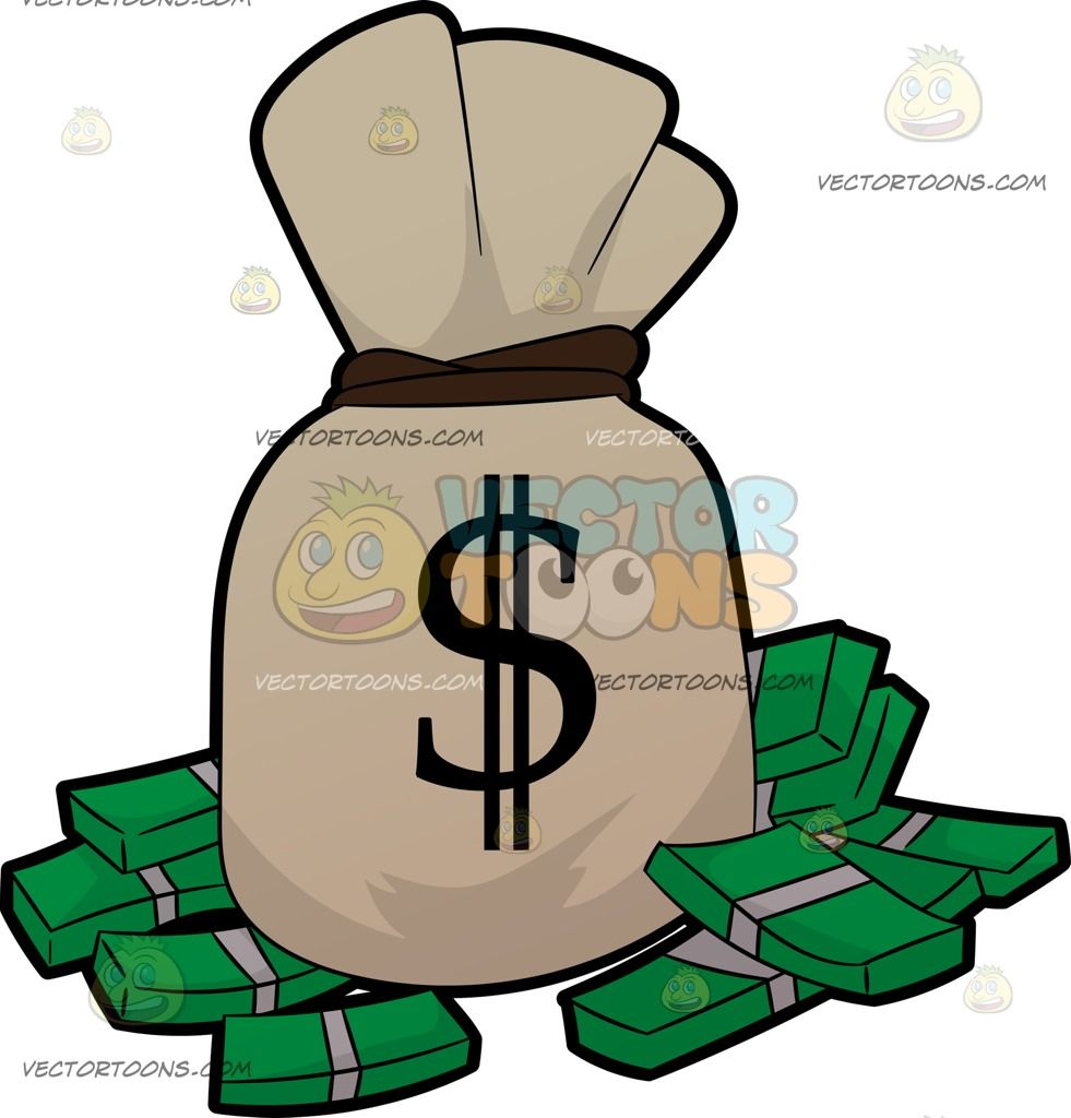 A bag of and. Briefcase clipart money