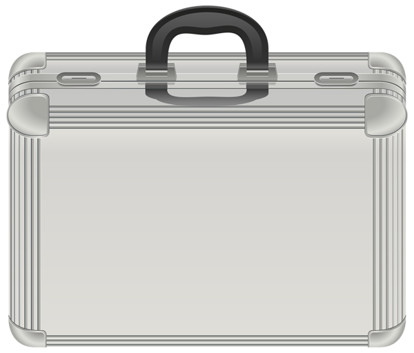 Luggage clipart business. Silver case transparent png
