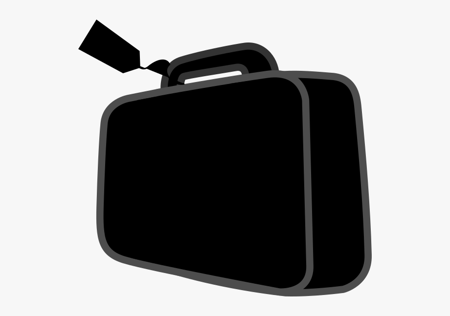 Briefcase clipart small suitcase. Black and white free