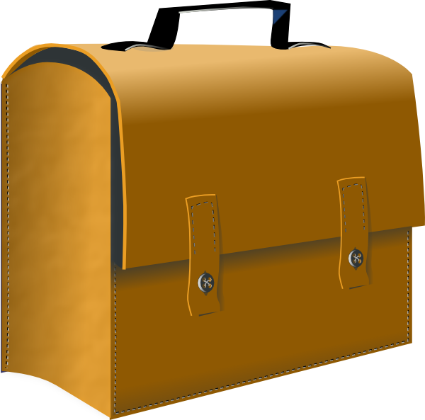 Leather business suitcase clip. Luggage clipart office