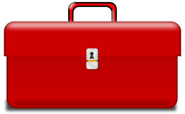 Luggage clipart suitcase handle. Toolbox red clip art