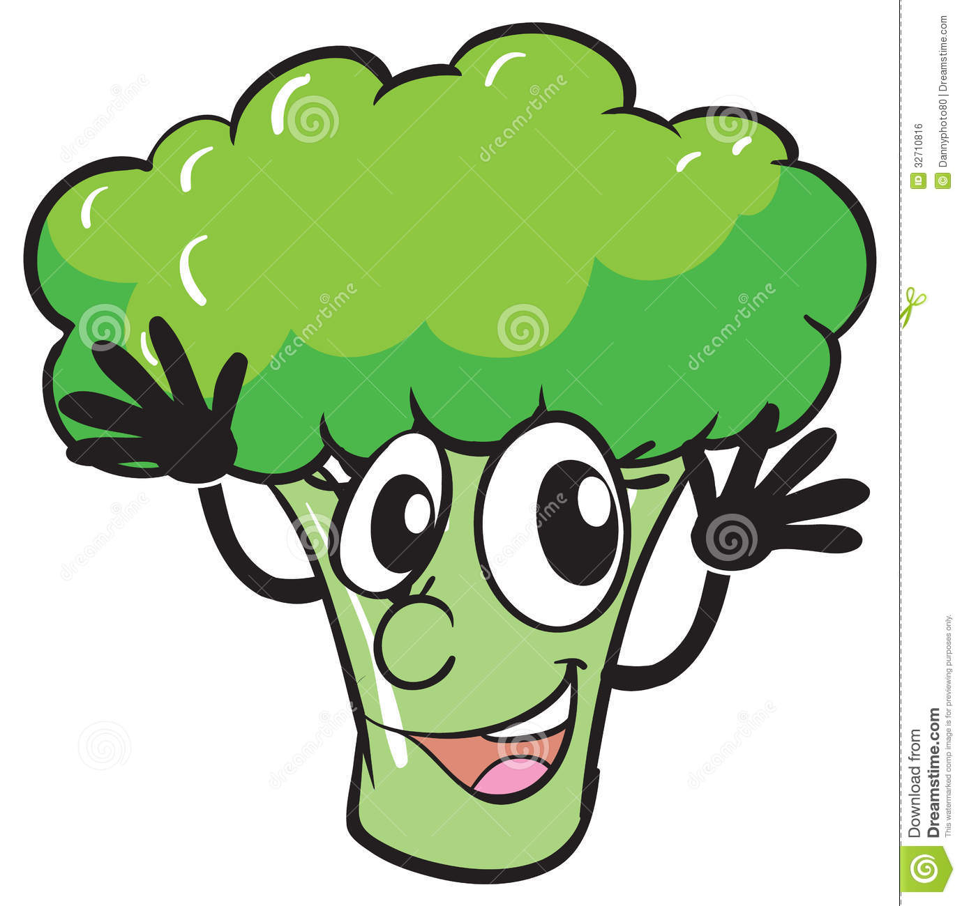 Pencil and in color. Broccoli clipart animated