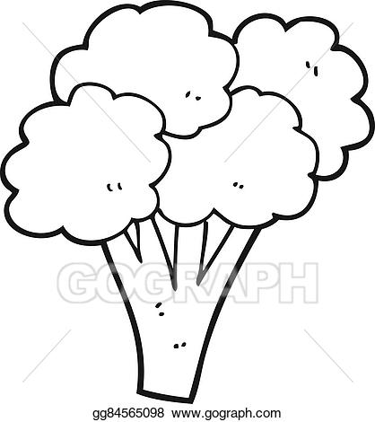 Vector stock cartoon. Broccoli clipart black and white