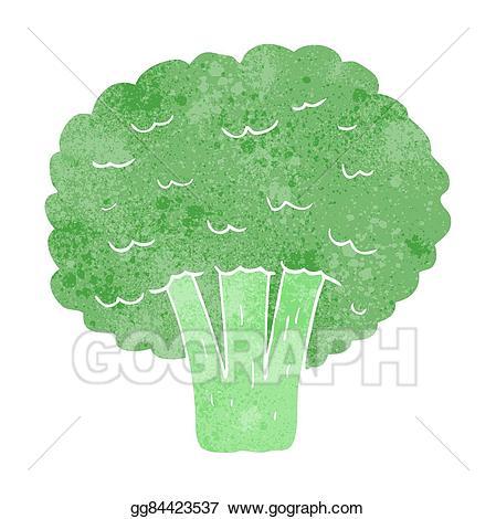 Broccoli clipart broccoli plant. Vector art retro cartoon