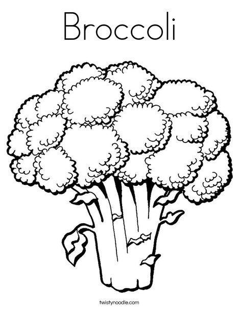 Broccoli clipart coloring page. Twisty noodle fruit veggies