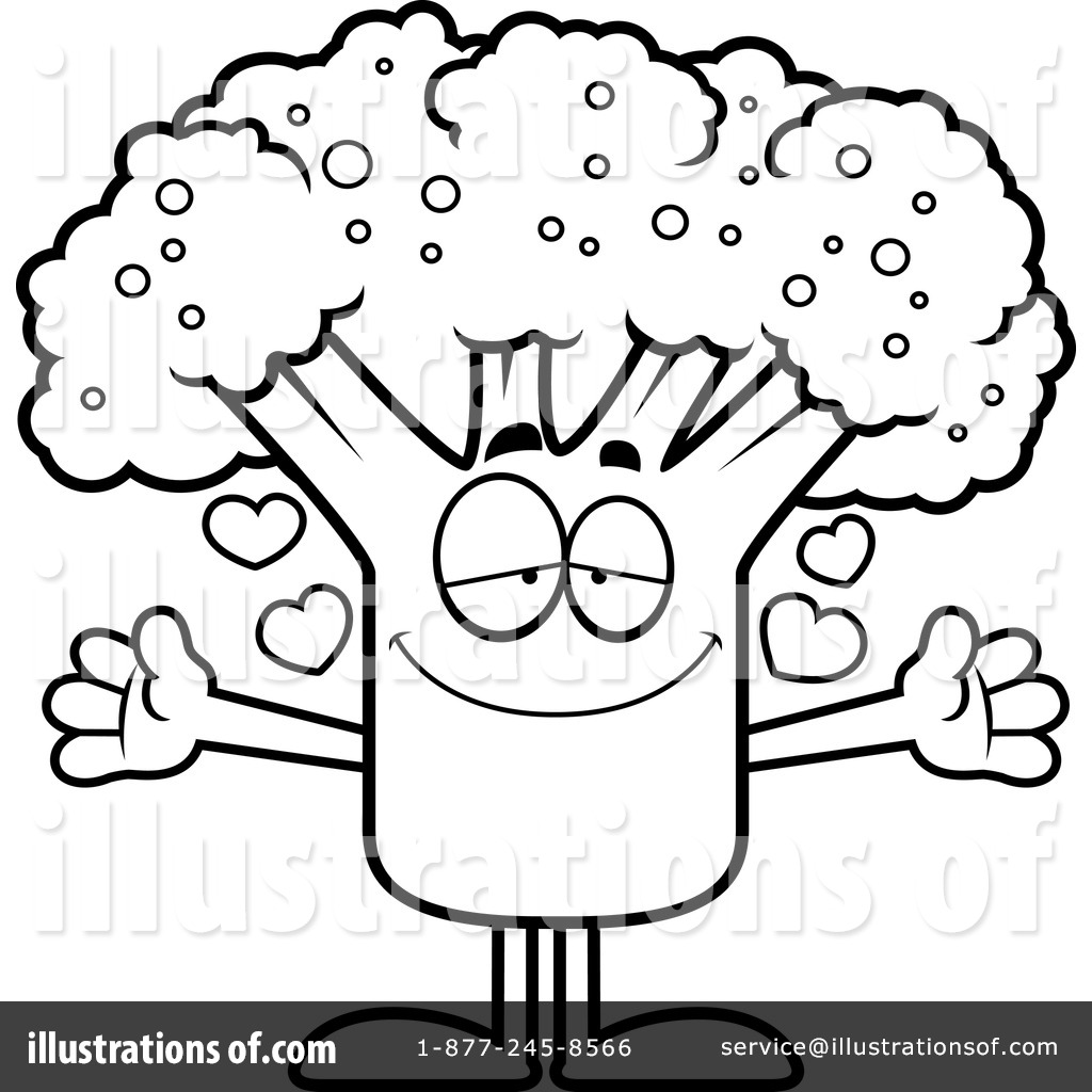 Broccoli clipart coloring page. Illustration by cory thoman