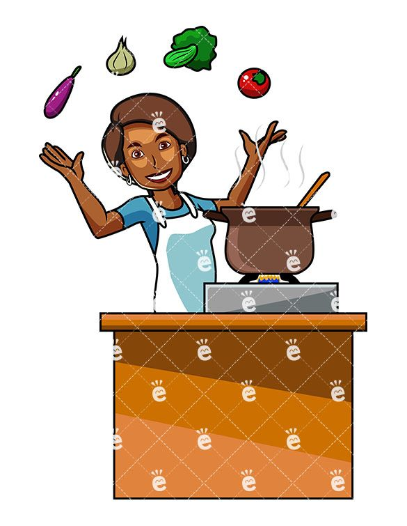 Broccoli clipart cooked. A black woman cooking
