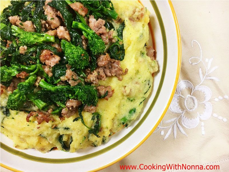 Broccoli clipart cooked. Polenta with sausage and