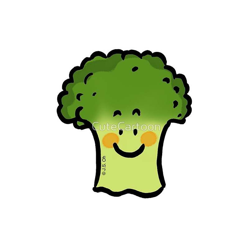 Broccoli clipart face. Cute cartoon veggie throw
