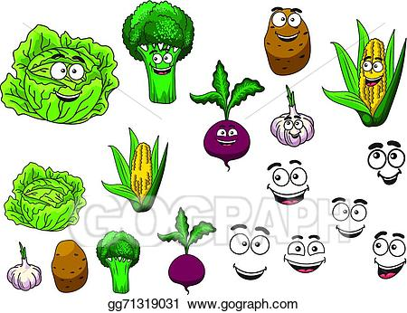 Vector art fresh grocery. Broccoli clipart face