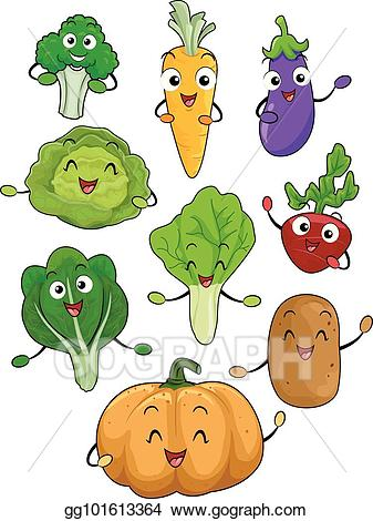 Vector art mascots vegetables. Broccoli clipart lettuce