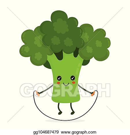 Vector art cute happy. Broccoli clipart sketch