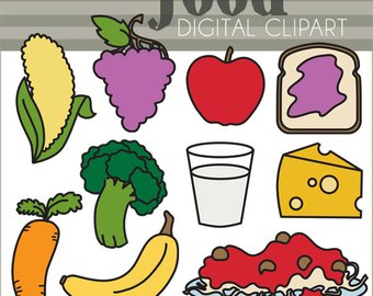 Carrot clipart broccoli. Etsy food set personal
