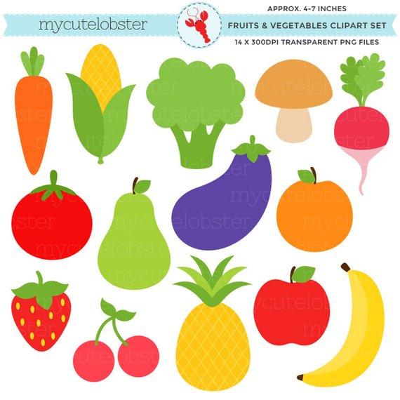Fruits vegetables set clip. Carrot clipart broccoli