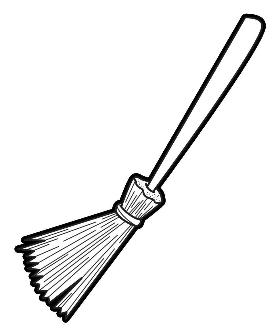 Black and white letters. Broom clipart